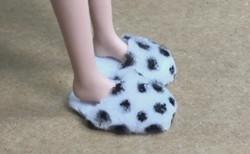 DIY迷你鞋子,给六分娃做一双斑点棉棉拖,太可爱了!