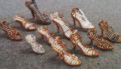 灰姑娘的水晶鞋,迷你版,金属绕线手工制作。