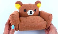 迷你家具制作,给芭比娃娃,可儿娃娃做一张布朗熊懒人沙发。