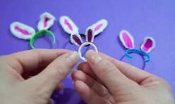 给可儿娃娃做配饰,给娃娃做一个迷你兔耳朵发箍!