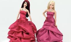 帮芭比娃娃做一件迷你露肩礼服裙,超简单!