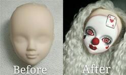 笑脸可儿娃娃改妆成扑克小丑的化妆过程+植发过程。