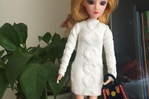 (6分娃衣教程) 给芭比娃娃做一件长款的卫衣,毛衣