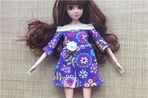「6分娃衣教程」芭比娃娃迷你露肩连衣裙制作教程,新手也能学会