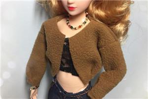 「DIY手工娃娃衣」芭比娃娃焦糖色短外套教程,超时尚!超有范儿