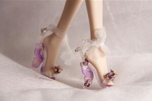 [原创]用热缩片给芭比娃娃,bjd娃娃做一个蝴蝶跟娃鞋