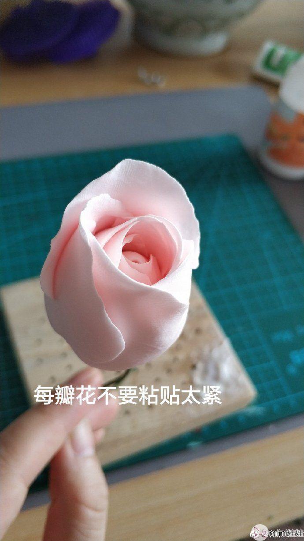粉色月季花粘土手办做法