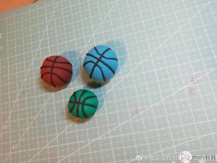 超轻粘土捏的篮球教程
