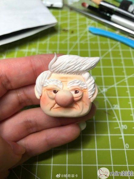 超轻粘土白头发老爷爷玩偶做法
