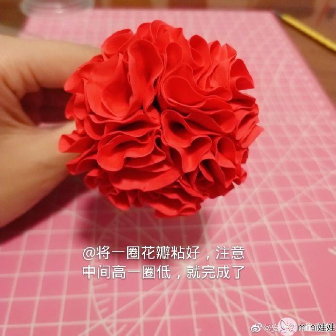 教师节大红色粘土康乃馨花朵
