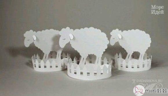 院子里的绵羊小摆件剪纸手工制作