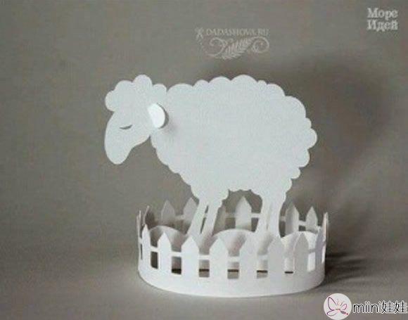 院子里的绵羊小摆件手工制作