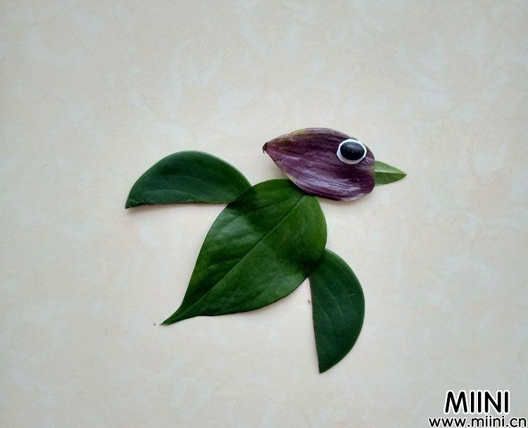 树叶拼贴画图片小鸟的做法