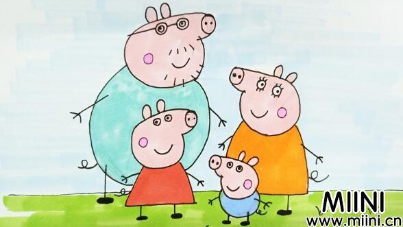 教宝宝如何画小猪佩奇全家福简笔画教程