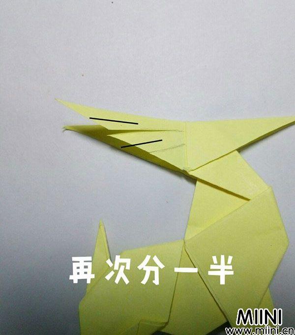 折纸鹿的折法图解教程,好看的鹿只需几步 第47步