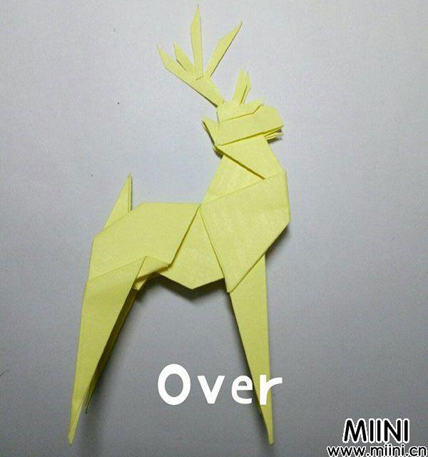 折纸鹿的折法图解教程,好看的鹿只需几步 第57步