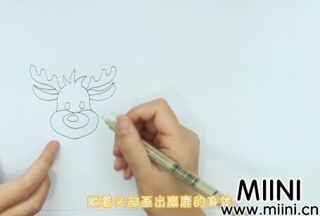 圣诞老人和麋鹿儿童画怎么画?圣诞老人和麋鹿儿童画步骤教程