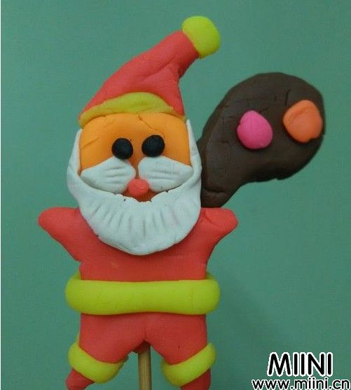 橡皮泥圣诞老人做法