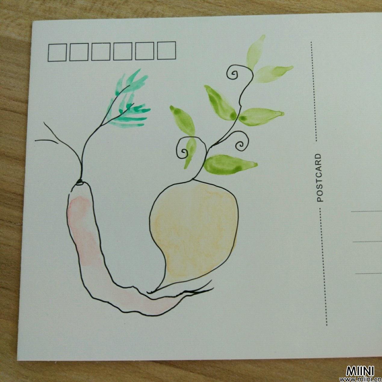 明信片上画一个可爱萝卜的简笔画教程