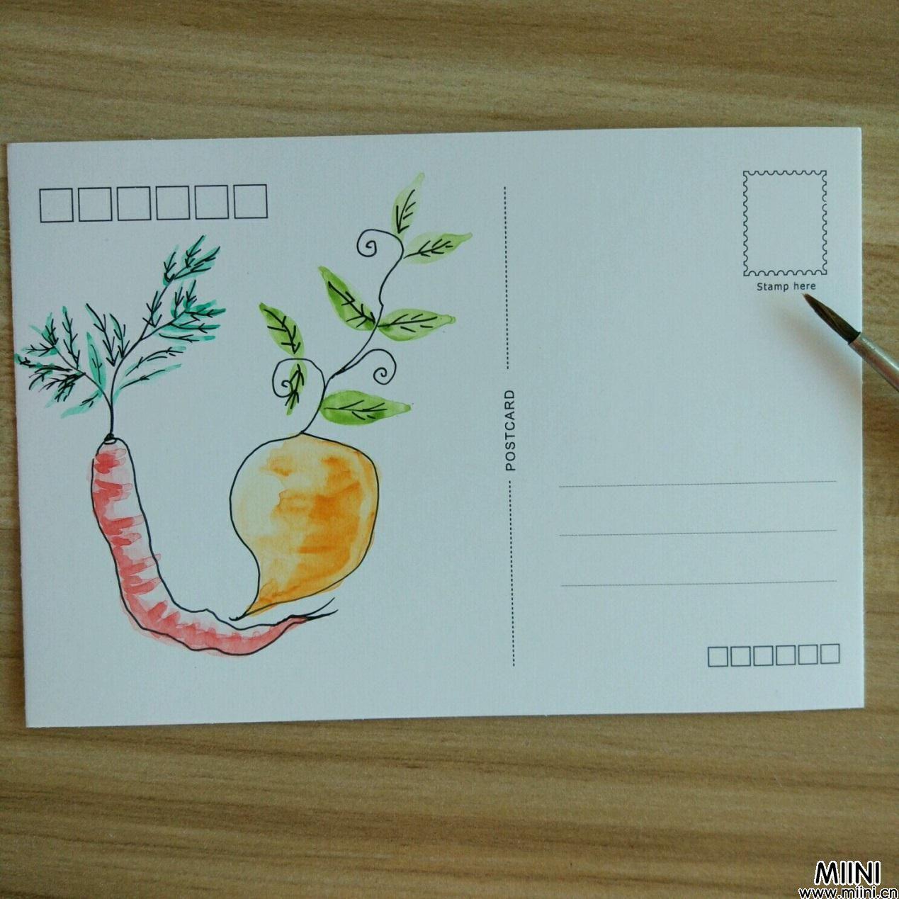 明信片上<a href=http://www.miini.cn/hhds/ target=_blank class=infotextkey>画</a>一个可爱萝卜的简笔画教程