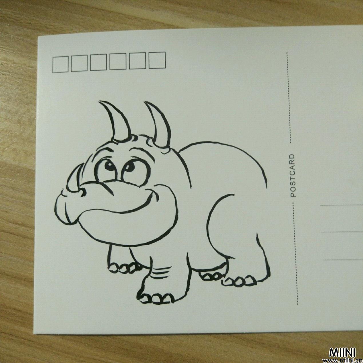 给明信片上画一个简单犀牛简笔画教程