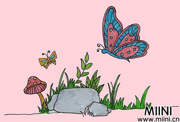 蝴蝶儿童简笔画步骤教程