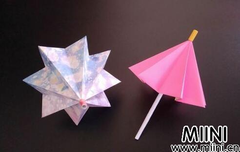 可收缩的迷你小雨伞折纸教程
