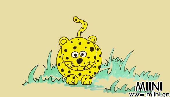 豹子动物简笔画步骤教程