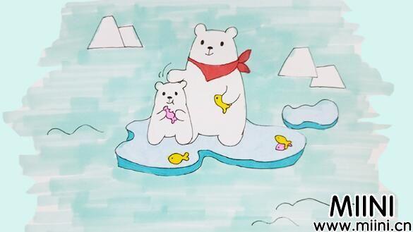 北极熊简笔画步骤教程