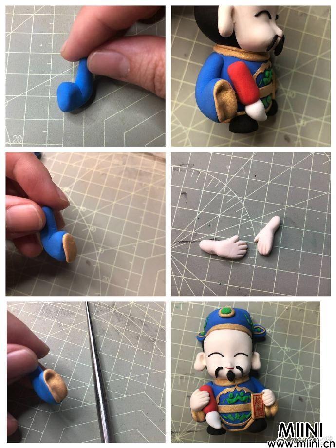 可爱的粘土财神玩偶手办做法