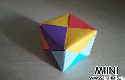 彩色立方体儿童折纸步骤教程