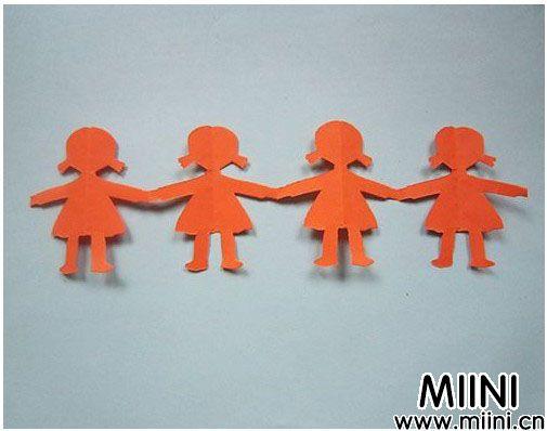 儿童手工小女孩手拉手剪纸教程