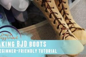 BJD娃娃鞋子,系带靴子制作教程