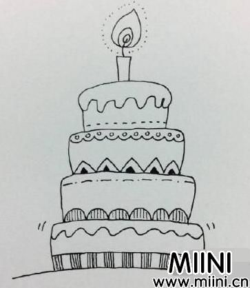 生日蛋糕简笔画怎么画?生日蛋糕简笔画步骤图