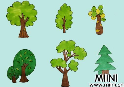 许多大树简笔画步骤教程