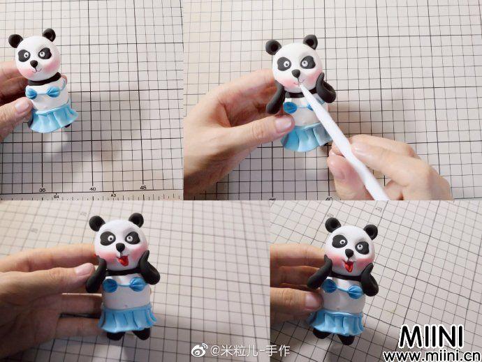 好可爱的熊猫宝宝粘土玩偶做法