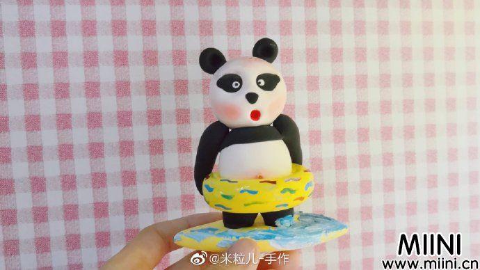 胖乎乎粘土小熊猫玩偶做法