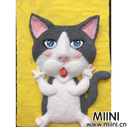 可爱的粘土猫咪画手办做法