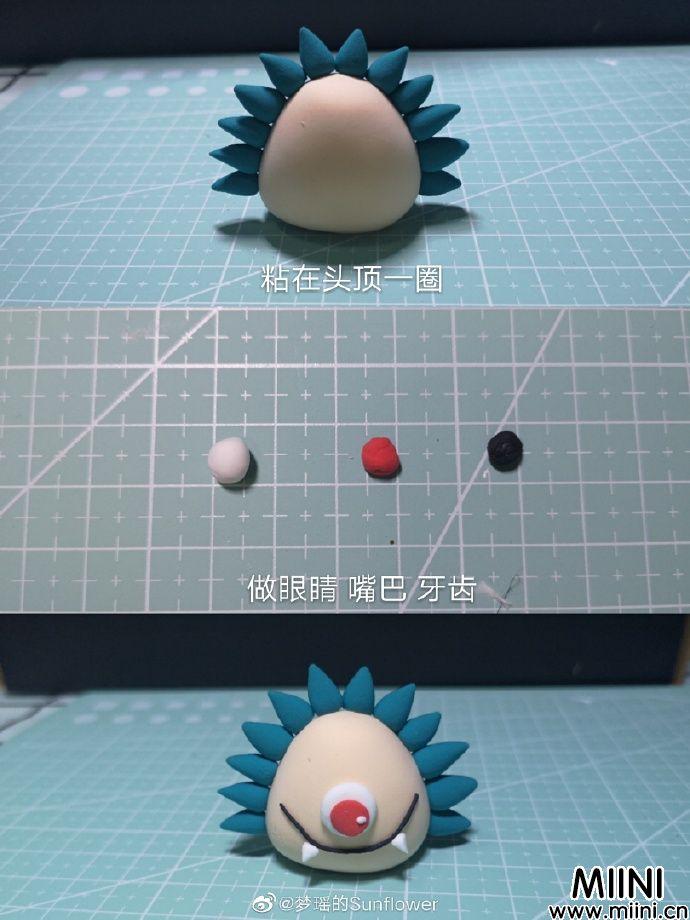 卡哇伊的粘土小刺猬玩偶做法