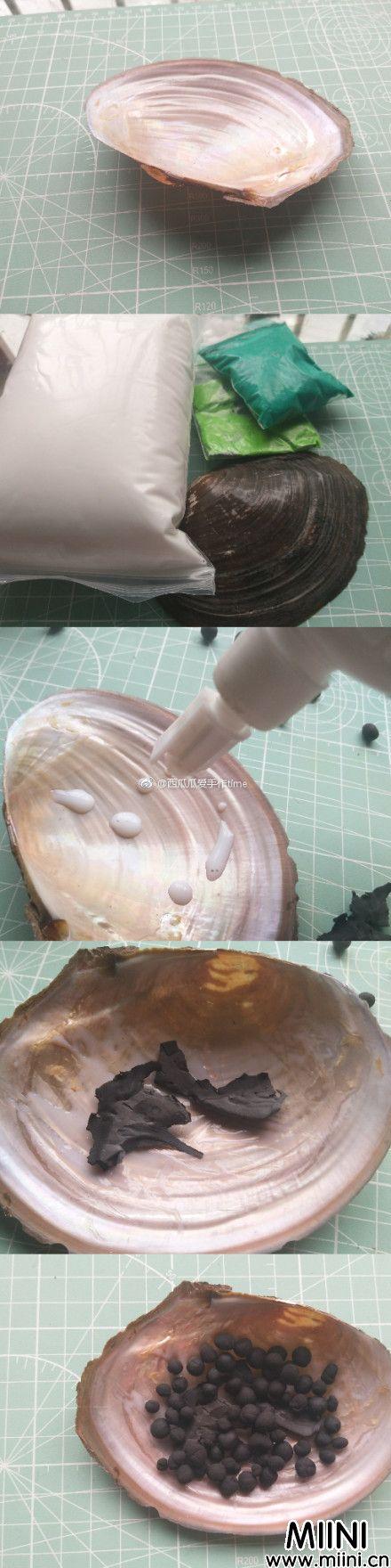 蚌壳中的粘土小多肉手办制作方法