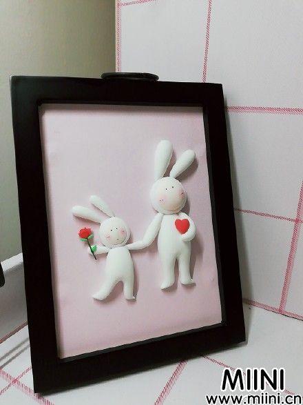 不二兔子粘土画制作教程