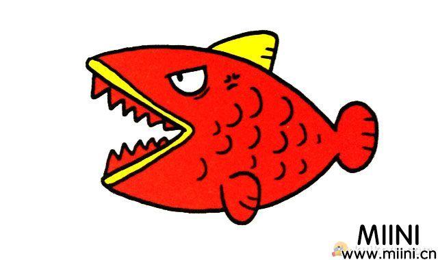 食人鱼简笔画绘画步骤图解