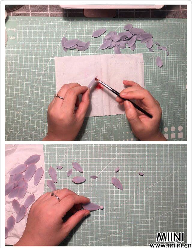 淡紫色超漂亮的粘土小多肉制作方法教学