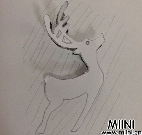 小鹿剪纸06
