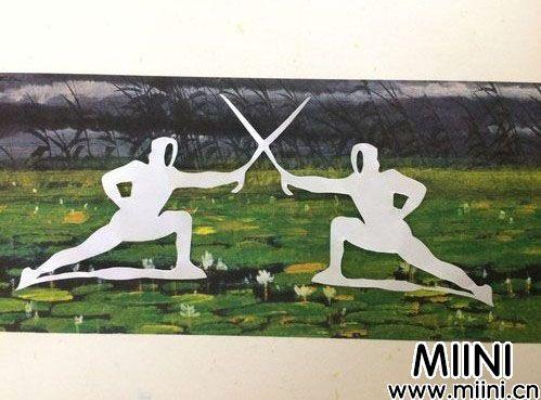 帅气的击剑运动员剪纸步骤图解