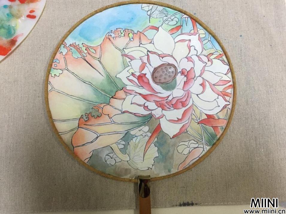 手工布艺,手绘团扇图解步骤