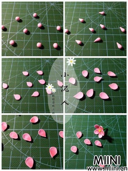 超轻粘土捏的粉色小花教程图解