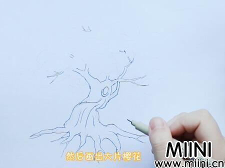 樱花树怎么画?樱花树画法步骤教程