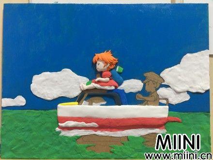 悬崖上的金鱼姬粘土画做法步骤图解