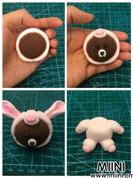 布朗熊和莎莉鸡可爱粘土摆件的制作教程